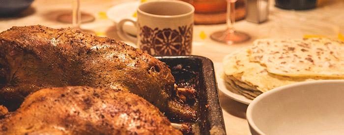 Roasted turkey, coffee cup, bread