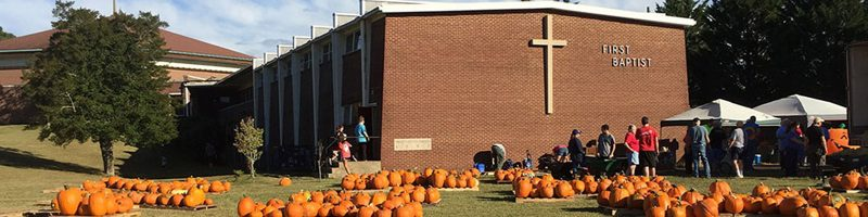 Pumpkins on the church lawn