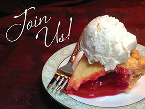 Join Us! Cherry pie and vanilla ice cream