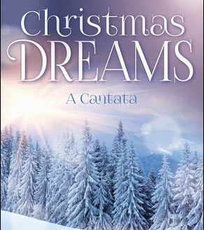 Christmas Dreams book cover with snow-dusted evergreen trees