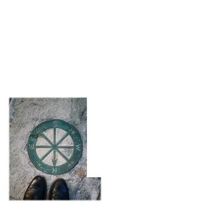 Pair of shoes near a compass